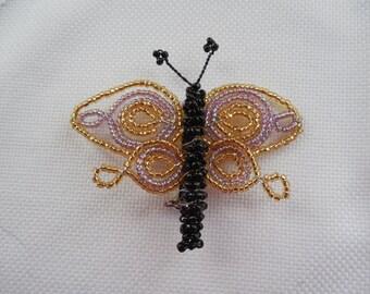 Seed Bead Butterfly Brooch