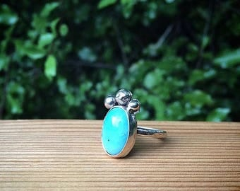 Silver Amazonite Ring / Sterling Silver Ring / Molten Silver Ring / Unique Ring / Mermaid Ring / Bright Blue Amazonite / Blue Gemstone Ring