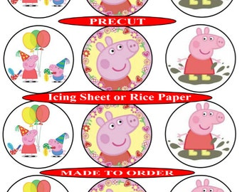 Peppa Pig pre-cut edible cupcake toppers, 2 sizes