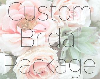 CUSTOM Bridal Package, Silk Bridal Bouquet, Boutonniere, Faux Bouquet, Bridesmaid Bouquet,Wedding Flowers