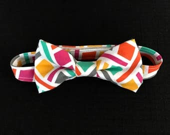 REDUCED!!  Little Boys Bow Tie, Toddlers Multi-Colored Bow Tie, Baby Boys Bow Tie, Kids Geometric Print Bow Tie; Geometric Print Bow Tie