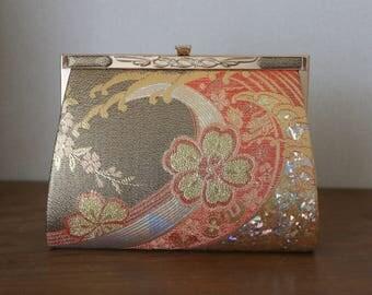 Vintage Japanese Kimono Clutch Bag /// Kimono clutch Bag, Nishijin Ori bag, Luxury bag, Japanese clutch bag, Vintage Kimono clutch