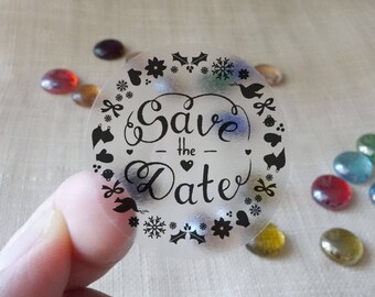 "Transparent or Silver Foil ""Save the Date"" Labels Stickers Seals #R4028"