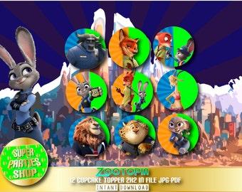 Zootopia Digital  Printable Party Cupcake Toppers , Custom Party, Zootopia,Birthday, kit , Pack,custom