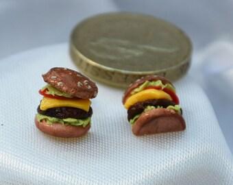 Realistic cheeseburger earrings (butterfly stud)