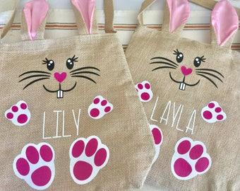 Easter bunny burlap bag with bunny ears