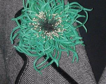 "Brooch-Pendant ""Flower Green Ice"" Genuine leather"