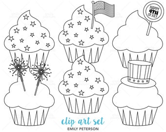 Patriotic Cupcakes, 4th of July, Fireworks - Cute Digital Stamps, Line Art  - Commercial Use, Instant Download