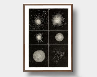Star clusters in six shapes 1878 Antique Astronomy Space Art Print Minimal Graphic Science Geek Gift Wall Art