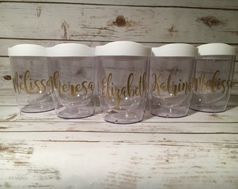 Stemless Wine Tumblers, Bridal Party Tumblers, Bridesmaid Wine Tumblers, Bachelorette Party Girlfts, Bridal Shower Gifts, Girls Weekend Gift