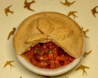 Dolls house miniature food. Handmade pie polymer clay  inch scale chicken pie