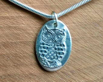 Silver owl necklace, Owl pendant, Owl necklace, Silver owl, Pure silver owl, Owl jewellery, Owl choker, oval pendant, pure silver, handmade