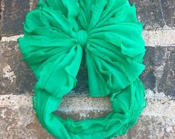 Spear mint green Ruffle Messy Bow Headband