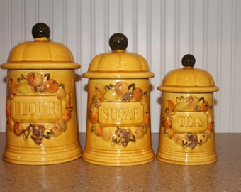 Yellow 3-Piece Vintage Canister Set