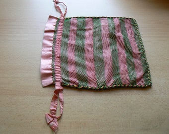 Enchanting vintage pink silk and mesh drawstring bag for holding all your lovely treasures!