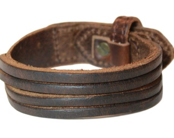 MOTHER's DAY SALE - Brown leather bracelet / Men and Women / Leather Jewelry / Leather Cuff Gift For Husband
