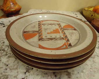Bohemian Plate Set in Tangerine and Earth Tone Speckles