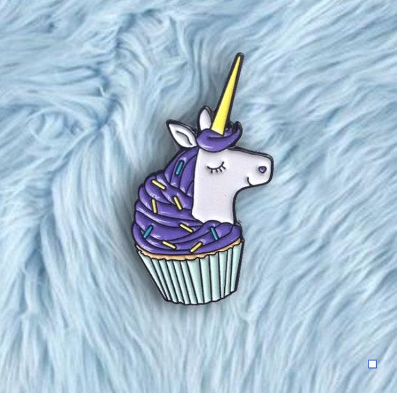 Purple Unicorn Cupcake Pin