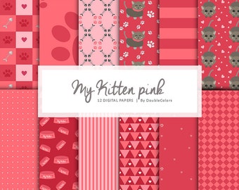 12 Digital papers my kitten pink. Printable. Cats lover