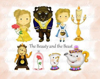Beauty and the beast clipart, Digital Scrapbooking, printable, Instant Download.