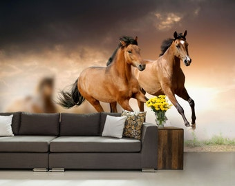 hors wallpaper, horses wallpaper, hors wall mural, self-adhesive vinly, hors wall decal, horses, mustang wallpaper, animal wallpaper