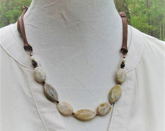 Fossil Coral and suede Gemstone necklace