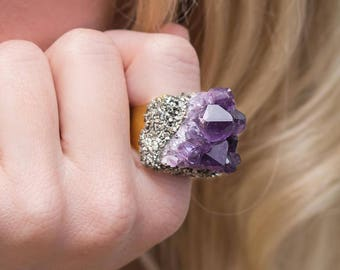 Raw Gemstone Ring, Amethyst Pyrite Ring, Crystal Ring, Raw Crystal Ring