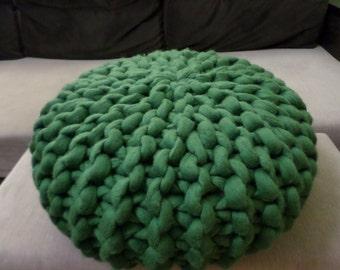 Chunky yarn pouf, Knit pouf, Urchin pouf,Woollen pouf, Modern floor pillow, Ottoman, Footstool, Stylish pouf, Modern pouf, Made to order