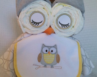Baby Neutral Owl Gift Cake, Gift for Baby Shower Yellow and Grey