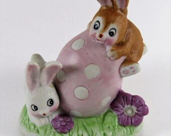 Vintage Ceramic Bunny Rabbits on Easter Egg by Russ Berrie & Co.