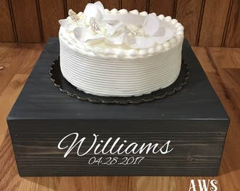 """14""""x14"""" Rustic Wood Cake Stand, 14 inch Rustic Antique Cupcake Stand, Cupcake Stand, Cake Stand, Country Wedding, Wood Cake Stand, Wedding"""