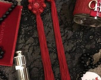 Red earrings, handmade earrings, Swarowski pearl, Swarowski crystal, luxury earrings,lace to love,luxury tassel earrings,tassel,high fashion
