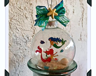 Mermaid Ornament, Christmas Mermaid Ornament, Starfish Ornament, Beach Christmas, Coastal Christmas, Little Mermaid, Ariel Ornament, Disney