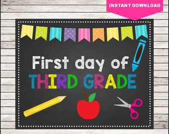 50% OFF Third Grade 2017 Sign, First day of school sign printable, School Printable Sign, First day of 3rd Grade, Third Grade