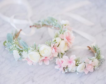 Baby Flower Crown, Duo Mother Daughter, Milk Bath, Baby Headband, Floral Crown, Maternaty Photo prop, Newborn Photo prop, Flower Headband