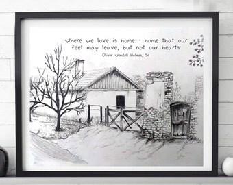 landscape sketch, Printable sketch, printable artwork, Home, balck and white, house sketch, Wall decor, Digital download, Pencil drawing