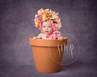 Flower Pot Painted Effect, Fine Art, Painting, Baby Prop DIGITAL BACKDROP BACKGROUND