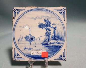 RARE Antique Dutch Tile with Man Fishing