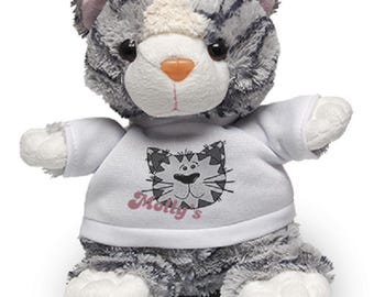 Cat soft toy with custom printed shirt - your text your design - perfect gift for all occasions!