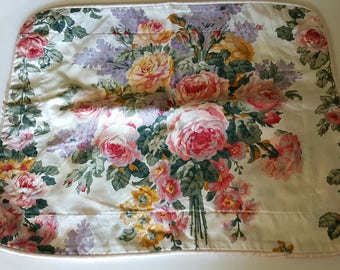 """Pillow Cushion Cover / CROSCILL / 12""""x15"""" / Roses Floral / Cotton Mix Sateen / Great Condition / BARGAIN BOX"""