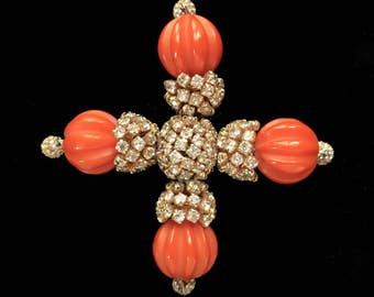 Kenneth Jay Lane K.J.L. Large Cross Brooch Pin
