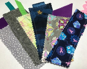 Gray Flowers Fabric Bookmarks