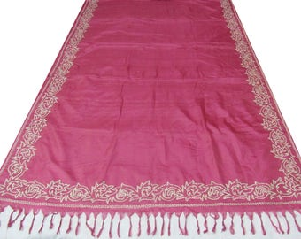 Pink indian traditional vintage sari pure silk saree floral embropidered craft