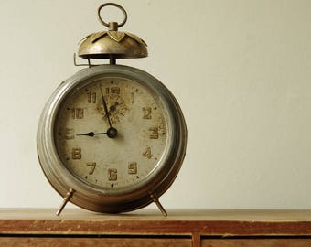 French Vintage Alarm bell clock. Delightful rust patina. Collectible decorative clock.