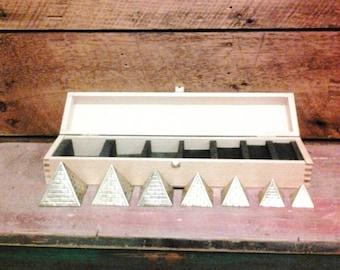 Brass Pyramids - Set of 7 In Wood Box