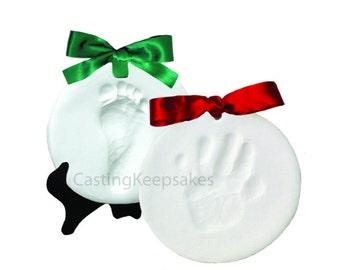 Air Drying Clay Hand and Footprint Holiday Ornament Keepsake Kit