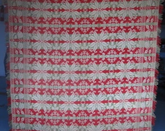 Antique Jacquard Coverlet, Signed & Dated, Queen or King,  Red,Olive Green and Cream Wool and Cotton, Vintage Coverlet with Fringe ,  #18007