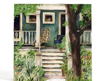 Watercolor art print mounted on wood panel — ready to hang — Albany Park House with quilt on front porch