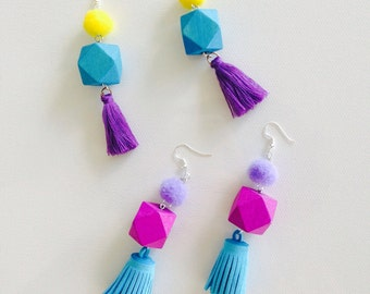 Focal-point-of-the-party Tassel Earrings, Pom Pom Earrings, Wooden Drop Earrings