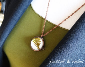 the fern, necklace with a real dried leaf